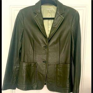 Vintage J.Crew Hunter Green Leather Blazer Jacket